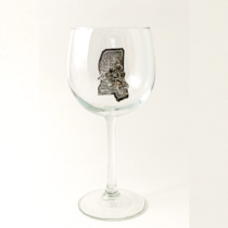 Red Wine glass Mississippi Map with