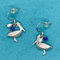 Pelican tiny earring w crystal
