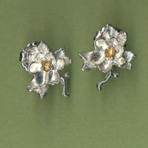 magnolia 2 tone tiny earrings