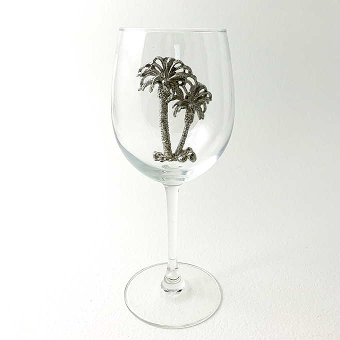 White Wine Glass, Palm Tree