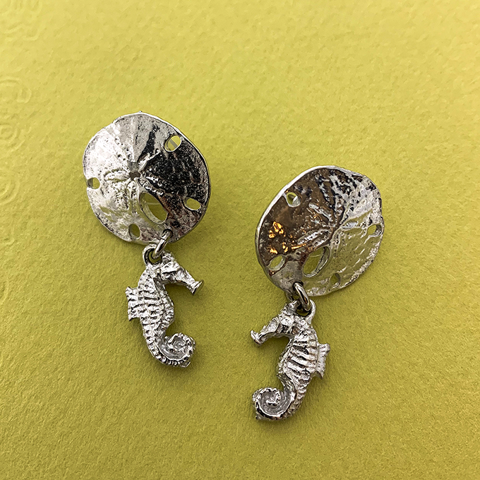 Sand Dollar with Seahorse Earrings, Post