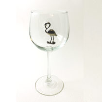 Flamingo red wine glass