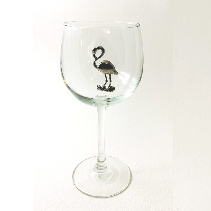 Flamingo red wine glass