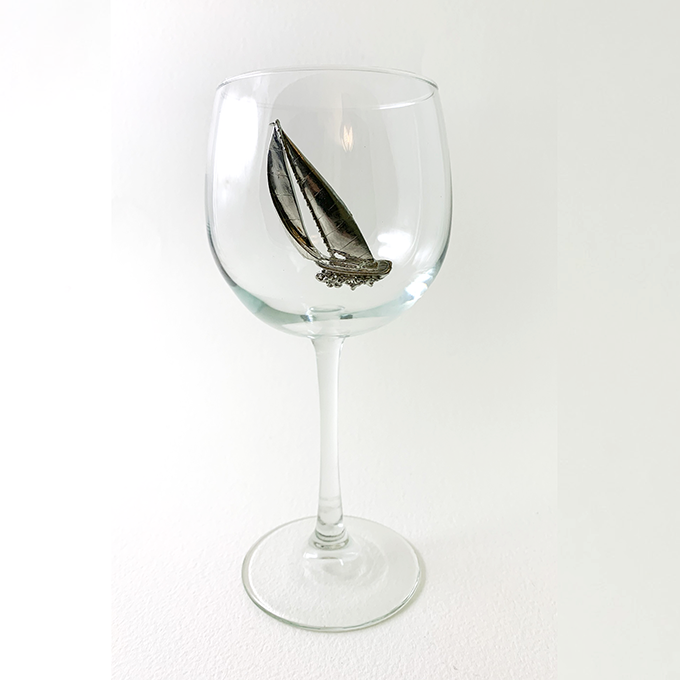 Red Wine Glass Racer Sailboat