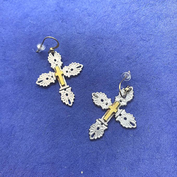 Anthemion Cross Earrings