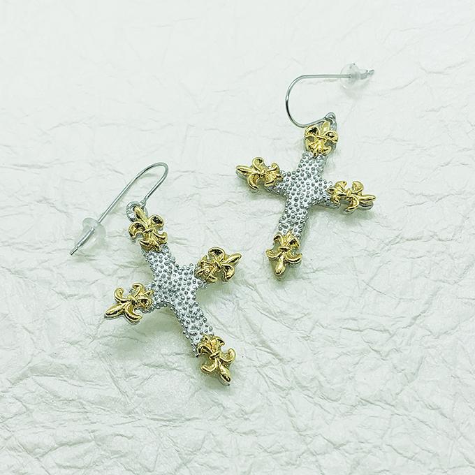 Fleur de Lis Cross earrings